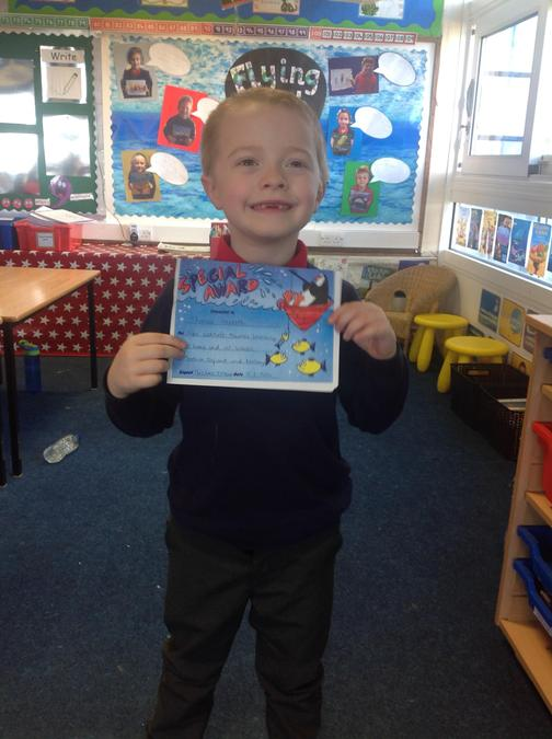 Thomas got the special effort award this week for his super attitude towards his learning!