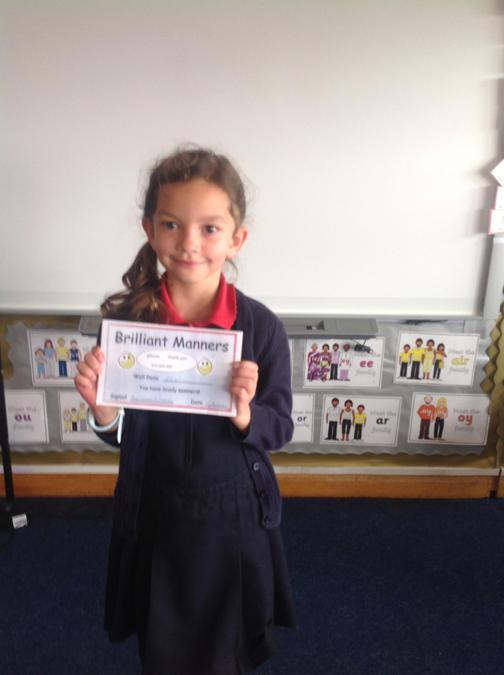 Ellie was awarded a special certificate for her wonderful manners and always being polite!