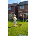 Badminton skills in the garden.