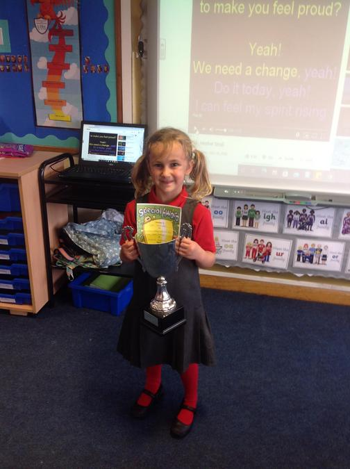 The trophy went to Lyla for her super effort with her writing this week! Well done!