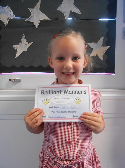 Sofia got the brilliant manners certificate.