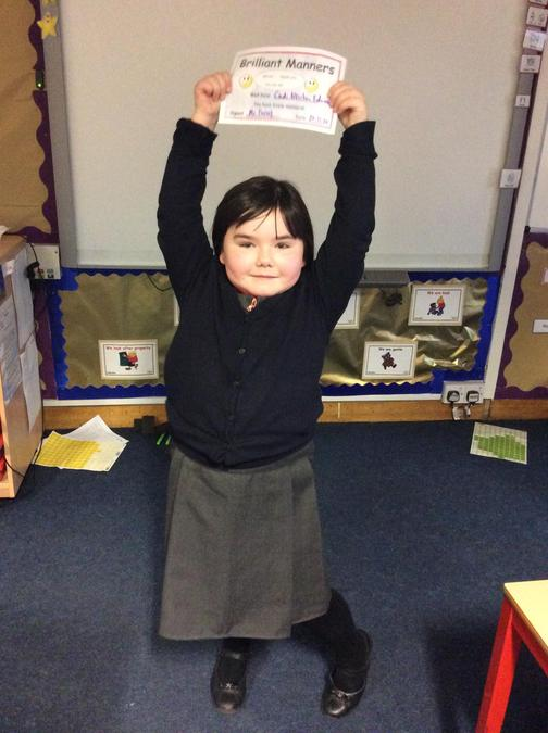 Cadi always has great manners and remembers her please and thank yous. Well done!