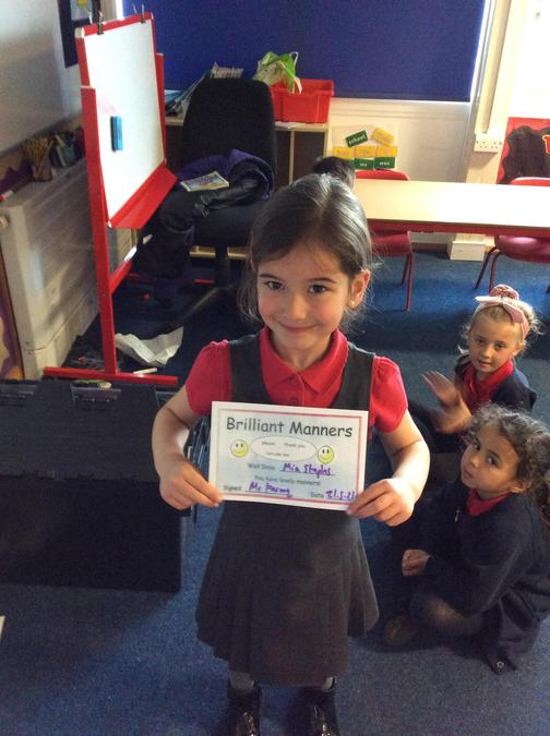 Lovely manners from Mia, well done!