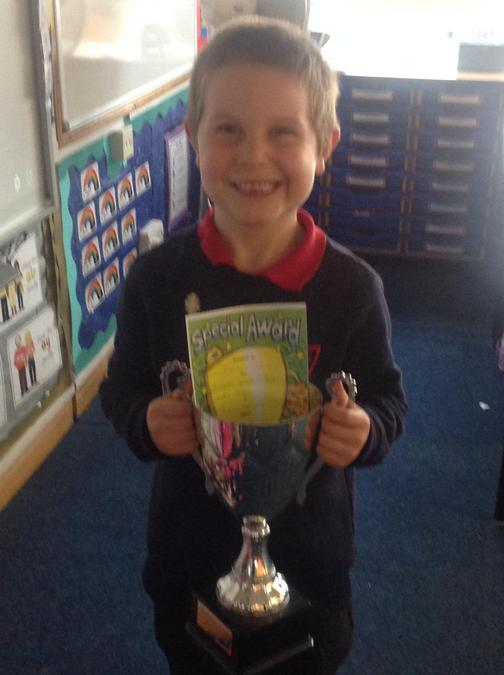 Evan won the trophy for his fantastic effort in Maths!