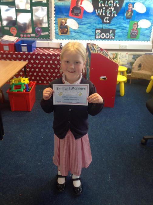 Miley won the manners certificate for being polite and helpful, well done Miley!