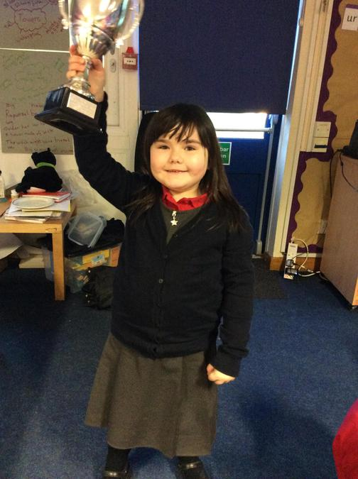 Cadi wins the trophy for some amazing effort in phonics. We have been so impressed!