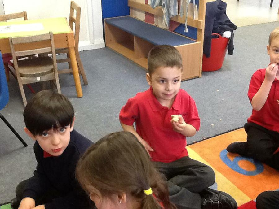 Tasting our homemade bread!