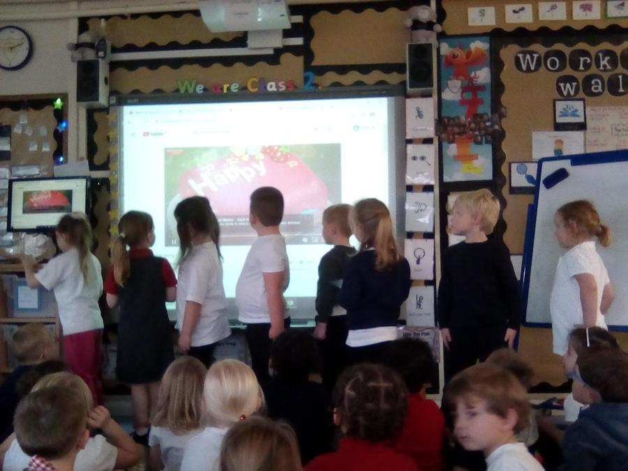 We sang Happy Birthday to the children who have celebrated an Autumn 1 term birthday