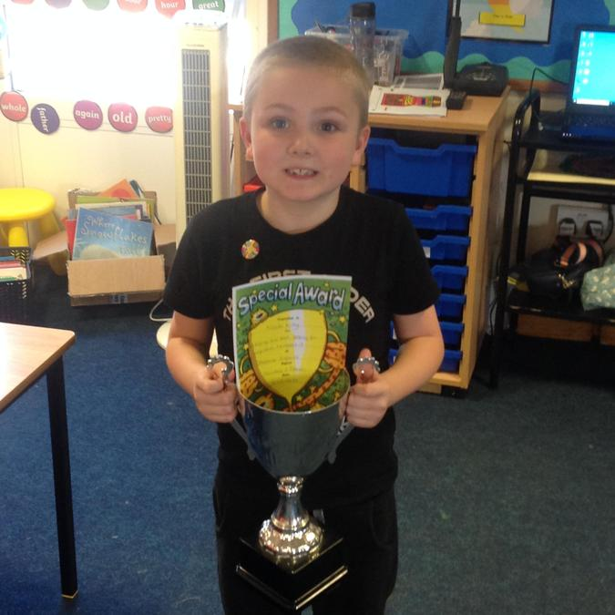 Noah won the trophy this week for his 'have a go' attitude towards his learning!