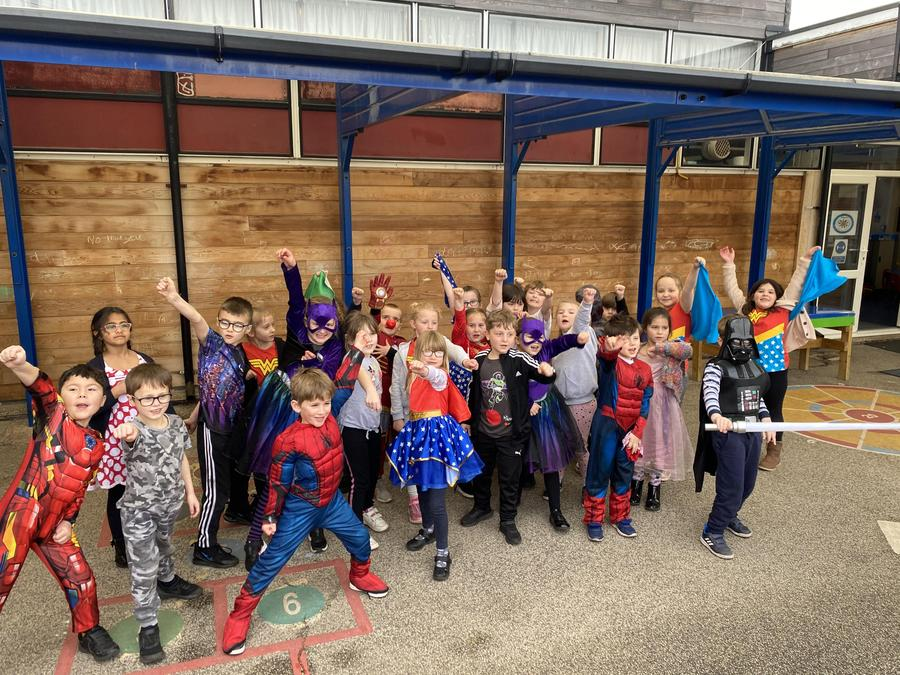 Class 6 dressed up for Red Nose Day.
