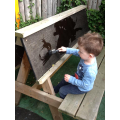 Mark making outside with brushes and water