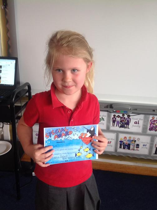 Ayla got the special effort award for coming into school so happily and trying her best!