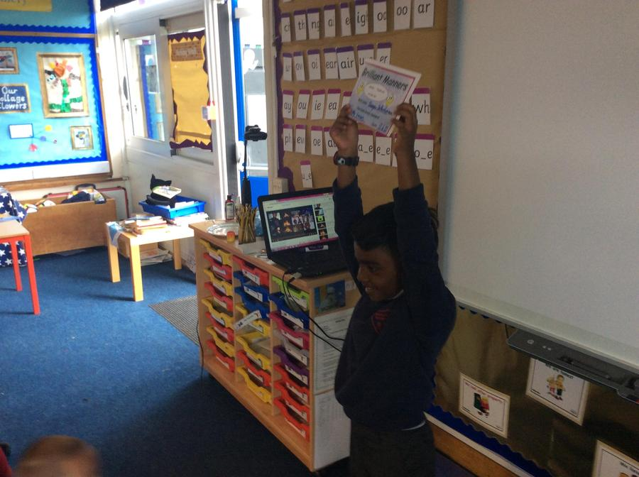 Lovely manners all week from Shayan. Well done!