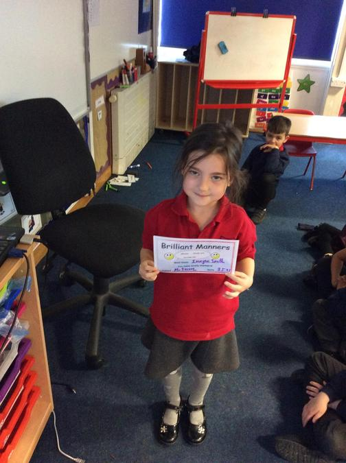 Lovely manners from Imogen all week. Good job!