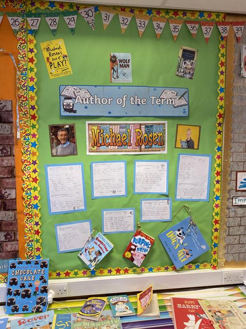 Our author display showing some of our rhyming and written work for author week.