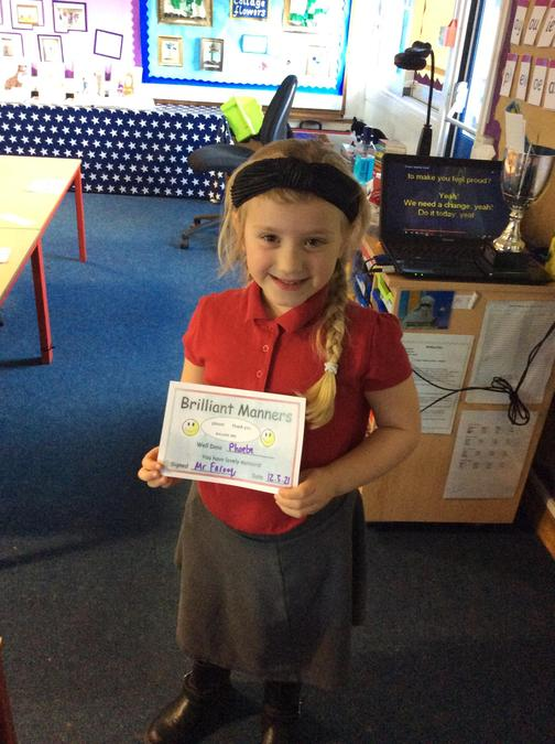 Phoebe has shown excellent manners since being back, always saying please and thank you.