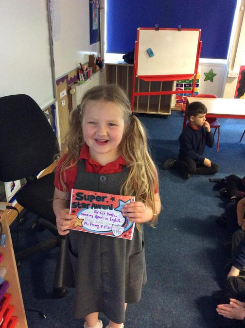 Fantastic effort in English and Phonics from Grace. I have been really impressed.