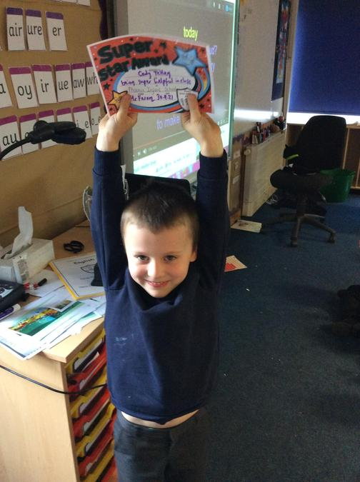 Cody has been a super help around the class, always doing jobs.