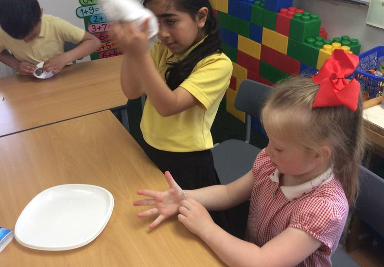 Making bubble snakes in year 1.
