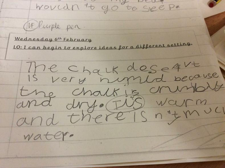 Yr 2 using materials science in their writing.