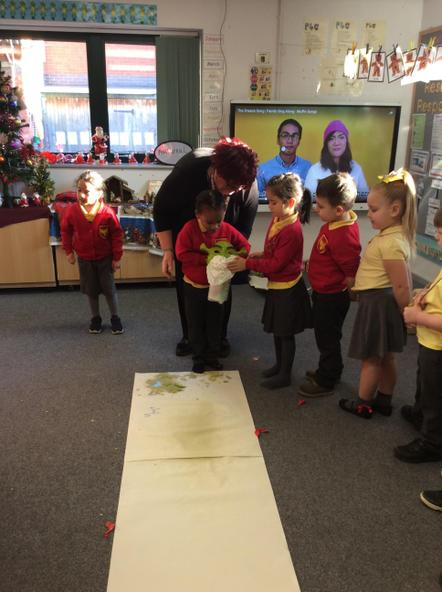 The reception class investigate how to stop Shrek spreading microbes.