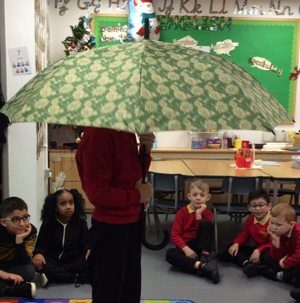 Investigating materials for umbrellas.