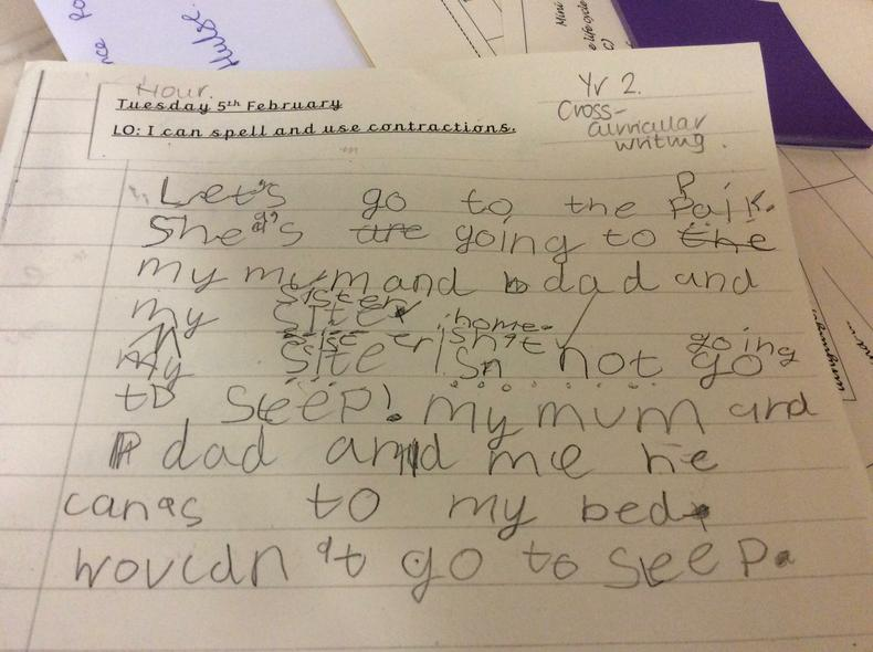 Y2 and cross curricular writing.