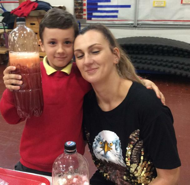 Learning with mum in science week.