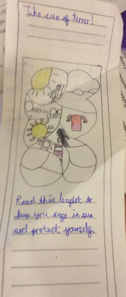 JC from yr 4 made a leaflet about keeping sun safe