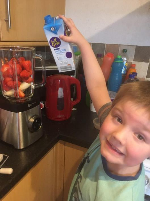 Luke making his smoothie!
