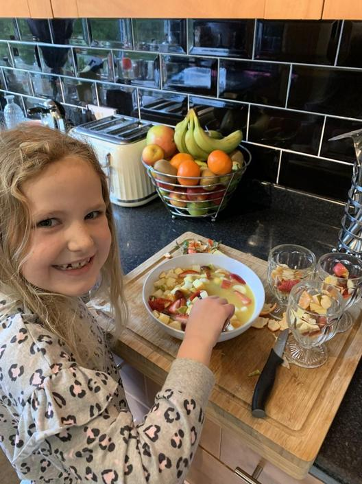 Jorja making a healthy fresh fruit salad!