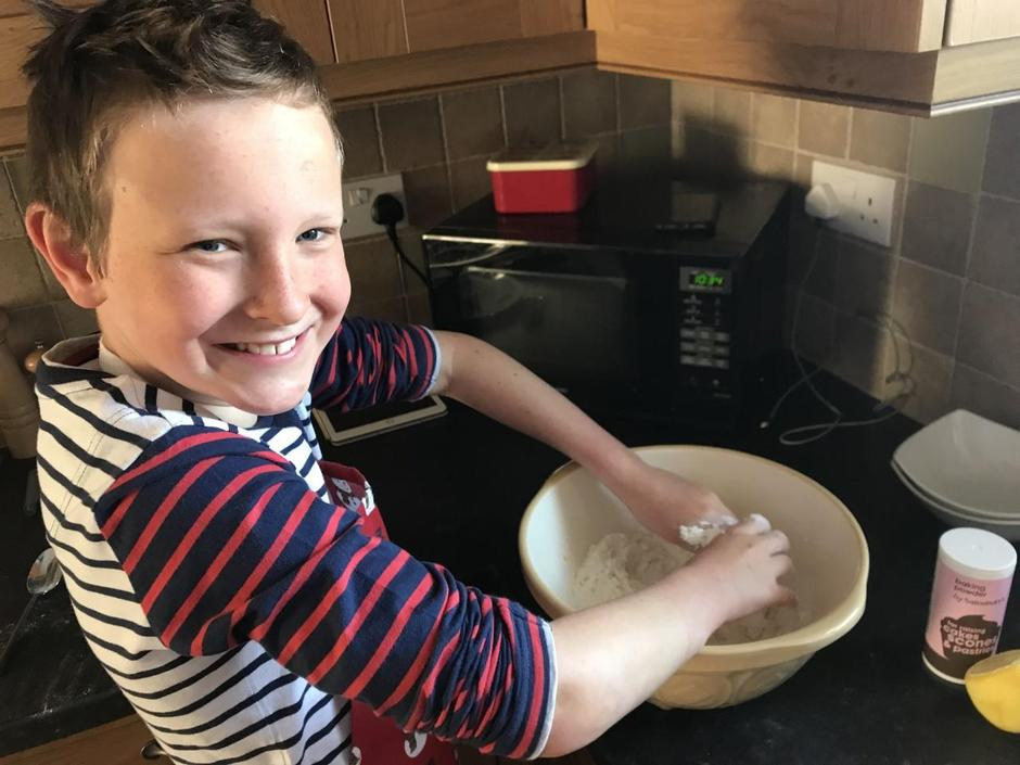 Oliver making his scones!