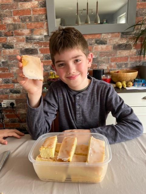 Oliver with his lemon drizzle tray bake!