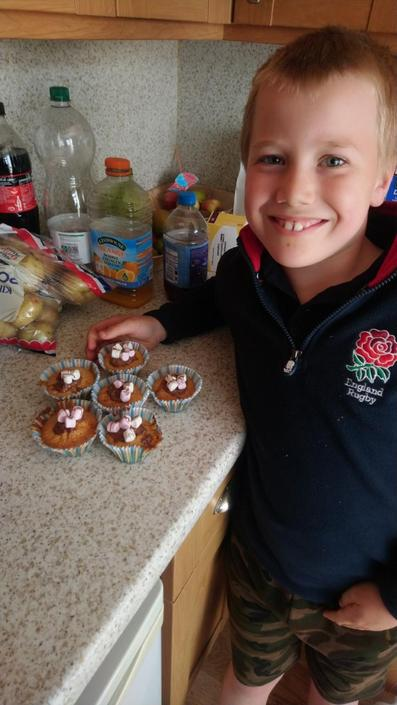 Peter independently made and decorated buns!
