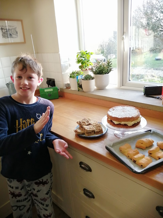 Harry with all his baking!