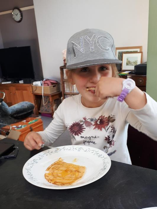 Ruby enjoying her pancakes!