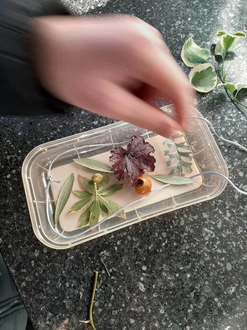 Arrange items from outside  and then fill with water