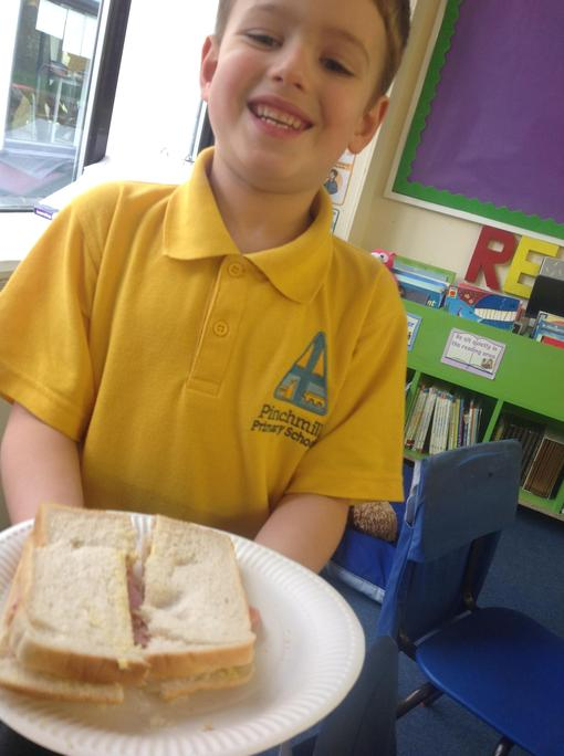 Following instructions to construct a sandwich!