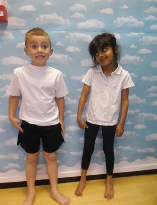 PE kits - White T-shirt & black shorts/leggings