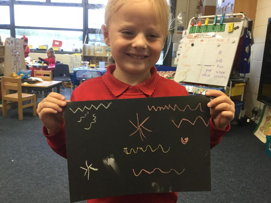 We have been making loads of firework art!