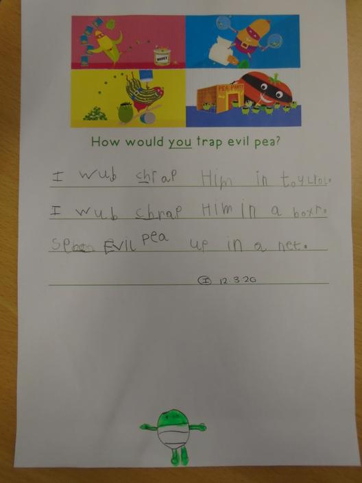 Writing about how we would catch Evil Pea.