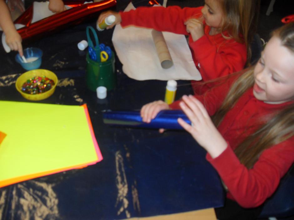 We had fun making 'rockets'.