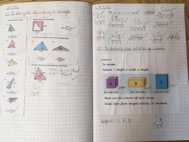 Fluency work for area of a triangle