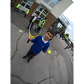Year 6 Sports Leaders setting up activities around the school at lunch times
