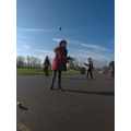 Year 5 working on their tennis skills