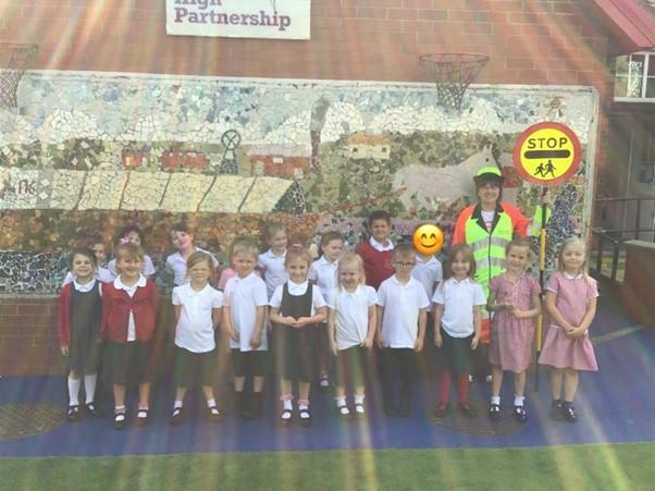 Our lollipop lady Mrs Cotterill came to visit us!