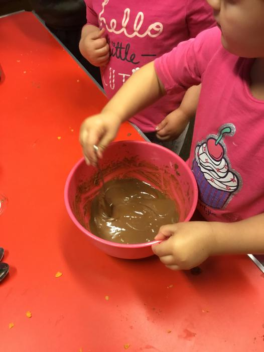 Checking if our chocolate has melted.