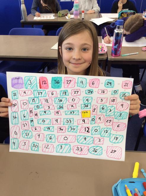 We enjoyed designing our own maths board games.