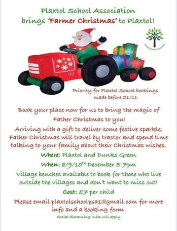 Farmer Christmas comes to Plaxtol!  (8,9.10 December)