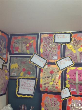 Autumn pictures using mixed media!